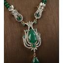 Collar completo de esmeraldas y topacios. Plata sólida 925 y bronce.