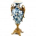 Jarrón de 44 cm. Ánfora estilo Imperio napoleónico  de porcelana y bronce.